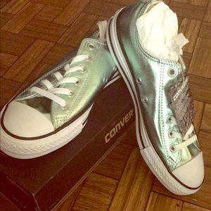 Green metallic converse